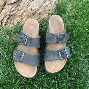 Gray Birkenstock Arizona sandals